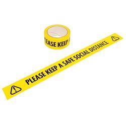 Varningstejp med uppmaning om att hålla avstånd - Please Keep a Safe Social Dist