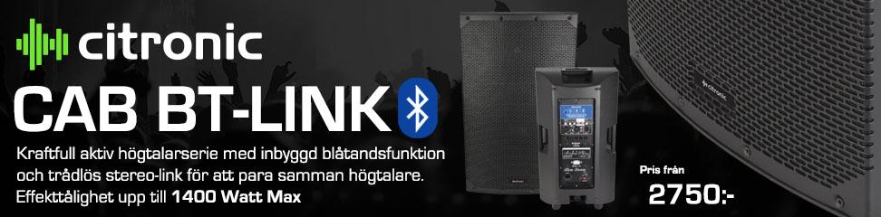 Kraftfull aktiv högtalare med inbyggd blåtandsfunktion och trådlös stereo-link.